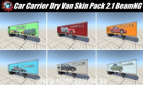 BeamNG.drive download mod Pak skins semitrailers Car Carrier Dry Van Skin Pack 2.