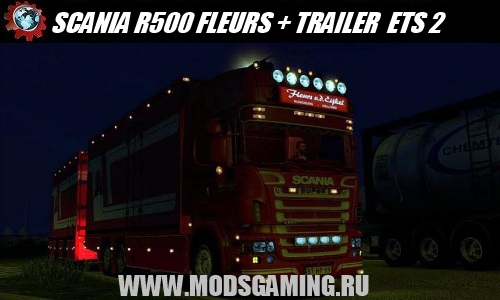 Euro Truck Simulator 2 download mod truck SCANIA R500 FLEURS + TRAILER