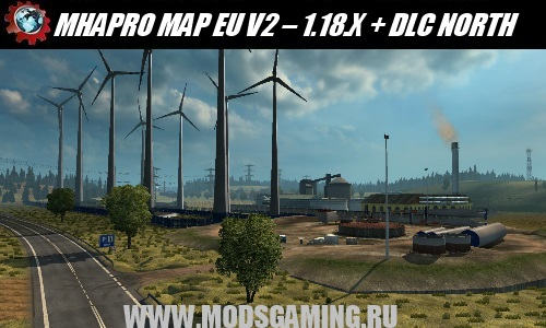 Euro Truck Simulator 2 download map mod MHAPRO MAP EU V2 - 1.18.X + DLC NORTH