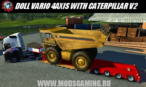 Euro Truck Simulator 2 download mod semitrailer DOLL VARIO 4AXIS WITH CATERPILLAR 257M V2