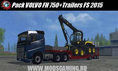 Farming Simulator 2015 mod download Pack VOLVO FH 750 + trailers