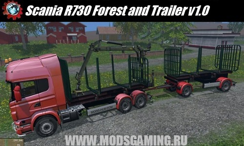 Farming Simulator 2015 mod download truck Scania R730 Forest and Trailer v1.0
