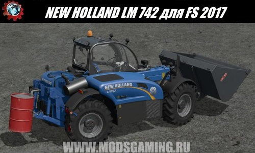 Farming Simulator 2017 download mod Telehandler NEW HOLLAND LM 742 WITH REAR HYDRAULICS V1.17