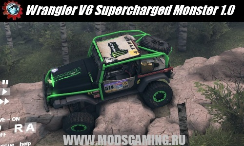 Spin Tires скачать мод машина Wrangler V6 Supercharged Monster