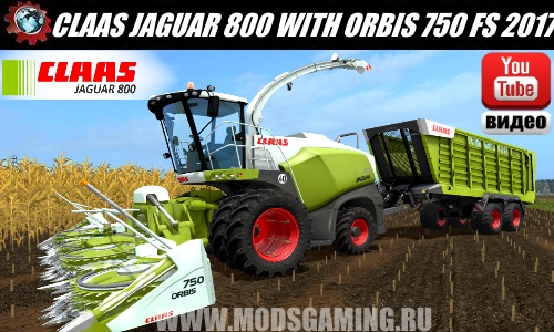 Farming Simulator 2017 download mod Harvester CLAAS JAGUAR 800 WITH ORBIS 750