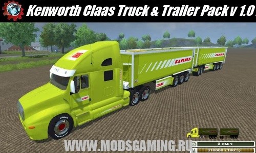 Farming Simulator 2013 скачать мод машина Kenworth Claas Truck & Trailer Pack v 1.0 MultiFruit