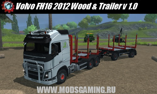 Farming Simulator 2013 скачать машина Volvo FH16 2012 Wood & Trailer v 1.0