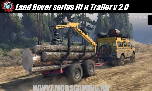 SPIN TIRES 2014 скачать мод машина Land Rover series III и Mini Log Trailer v 2.0