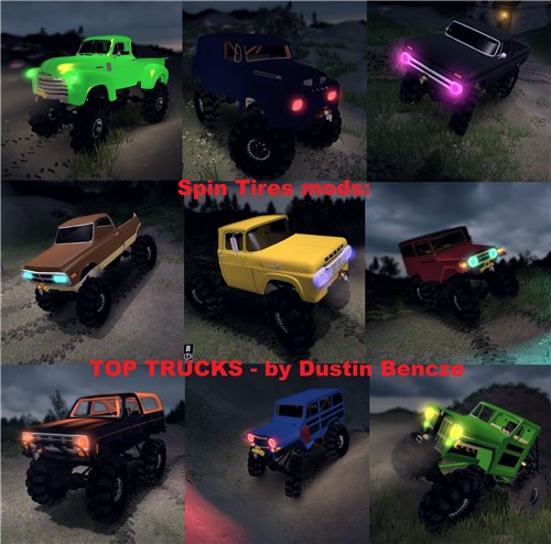 "Мод ""TOP TRUCKS"" для Spin Tires - Level Up 201"